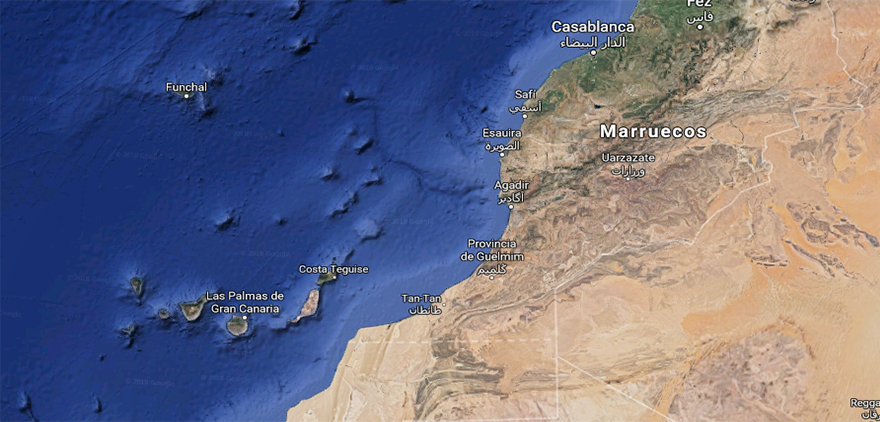 mapa marruecos canarias